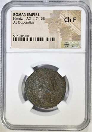 AD 117-138 HADRIAN AE DUPONDIUS NGC CH F