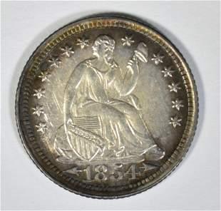 1854 SEATED LIBERTY HALF DIME AU/BU