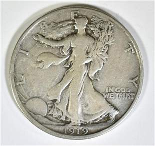 1919-D WALKING LIBERTY HALF DOLLAR VF