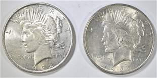1922-P,D PEACE DOLLARS AU