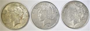 1926-S AU & (2) 1927-D XF PEACE DOLLARS