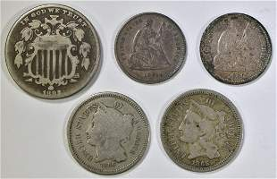 MIXED LOT OF 5 TYPE COINS