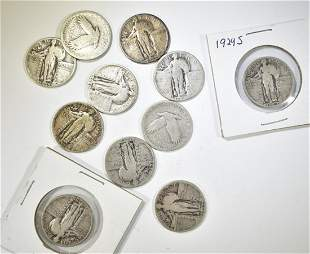 11 MIXED DATE STANDING LIBERTY QUARTERS