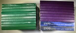 2-EACH 1990-99 U.S. PROOF SET ORIG PACKAGING