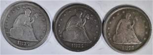 3 1875-S 20 CENT PIECES