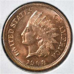 1908 INDIAN HEAD CENT CH BU RED