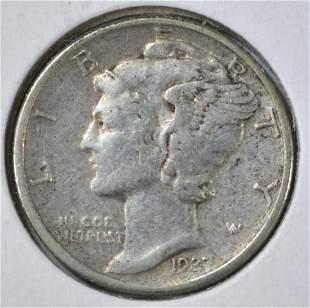 1927-D MERCURY DIME, AU
