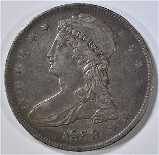1839 BUST HALF DOLLAR REEDED EDGE, AU
