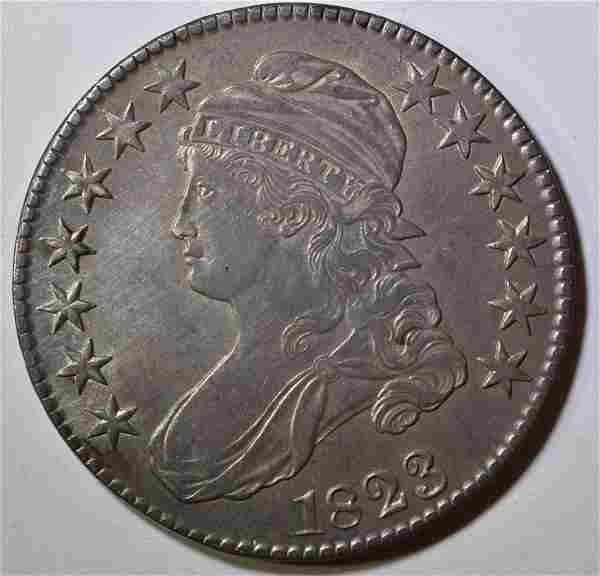 1823 BROKEN 3 BUST HALF DOLLAR CH AU
