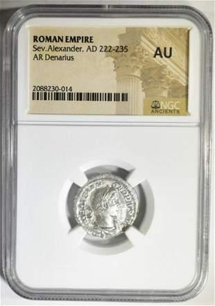 AD 222-235 SEV. ALEXANDER AR DENARIUS NGC AU
