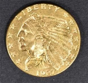 1927 GOLD $2.5 INDIAN GEM BU