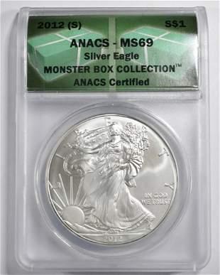 2012-(S) SILVER EAGLE ANACS MS-69