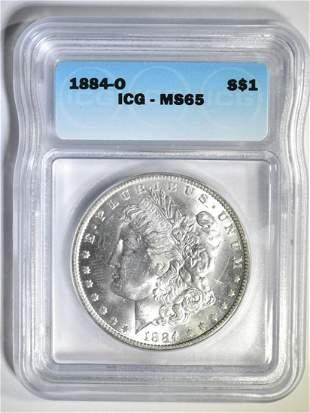 1884-O MORGAN DOLLAR ICG MS-65
