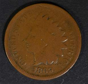 1869/9 INDAN HEAD CENT GOOD