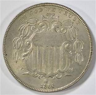 1866 SHIELD NICKEL CH AU