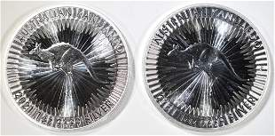 2-2021 1oz SILVER AUSTRALIAN KANGAROO COINS