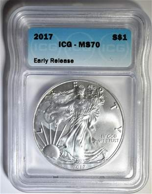 2017 am. SILVER EAGLE, ICG MS-70 EARLY RELEASE