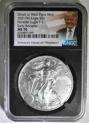 2021 (W) T-1 AMERICAN SILVER EAGLE NGC MS-70