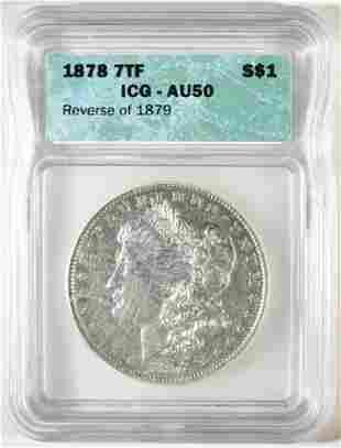1878 7TF REV 79 MORGAN DOLLAR ICG AU-50
