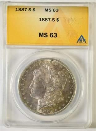 1887-S MORGAN DOLLAR ANACS MS-63