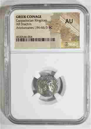 96-66/3 BC ARIOBARZANES I AR DRACHM NGC AU