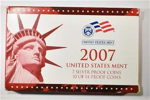 U.S. 2007 10 OF 14 COIN SILVER PROOF SET