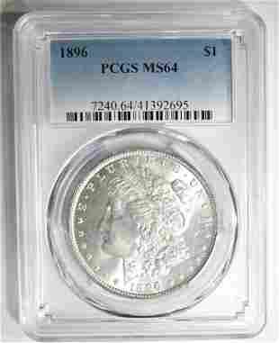 1896 MORGAN DOLLAR PCGS MS-64