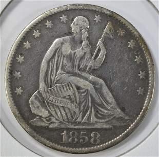 1858-O SEATED LIBERTY HALF DOLLAR VF
