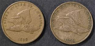 1858 LL FINE & 1858 SL VF FLYING EAGLE CENTS