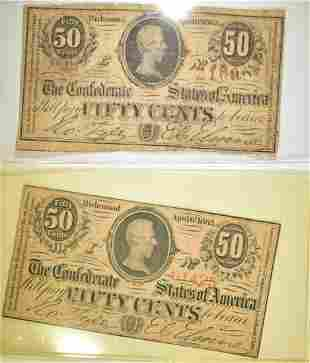 (2) 50 CENT CONFEDERATE NOTES T-63 NICE!