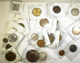MIXED LOT OF FOREIGN COINS SOME SILVER