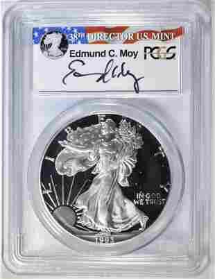 1993-P SILVER EAGLE PCGS PR-69 DCAM EDMOND MOY