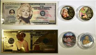 MARILYN MONROE/TRUMP NOVELTY COINS & BANK NOTES