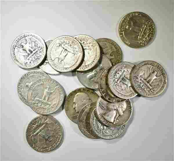$4.25 FACE VALUE 90% SILVER WASHINGTON QUARTERS
