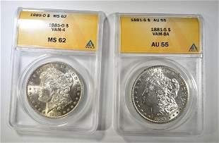 1881-S AU-55 & 1855-O MS-62 ANACS MORGAN DOLLARS