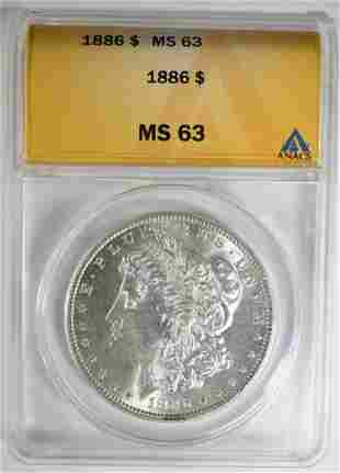 1886 MORGAN DOLLAR ANACS MS-63