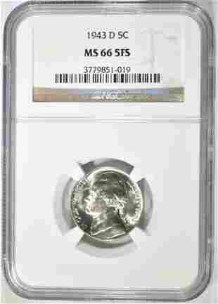 1943-D SILVER JEFFERSON NICKEL NGC MS-66 FS