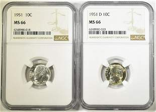 1951- P, D ROOSEVELT DIMES NGC MS-66