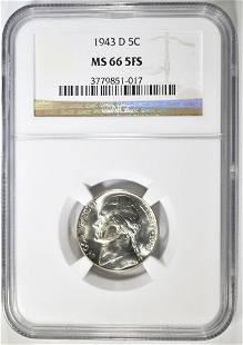 943-D SILVER JEFFERSON NICKEL NGC MS-66 5FS