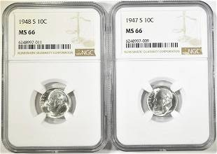 1947-S & 48-S ROOSEVELT DIMES NGC MS-66