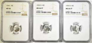 LOT OF 3 NGC GRADED ROOSEVELT DIMES: