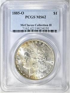 1885-O MORGAN DOLLAR, PCGS MS-62