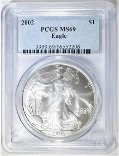 2002 AMERICAN SILVER EAGLE PCGS MS-69