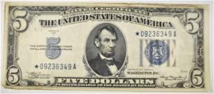 1934 A $5 SILVER CERTIFICATE STAR NOTE