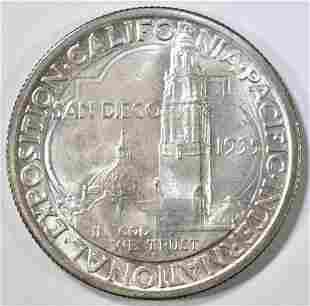 1935-S SAN DIEGO COMMEM HALF DOLLAR GEM ORIG UNC