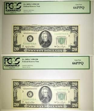 2- FR 2059-C 1950 $20 NOTES PCGS 66 PPQ
