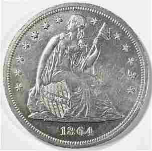 1864 SEATED LIBERTY DOLLAR AU/BU