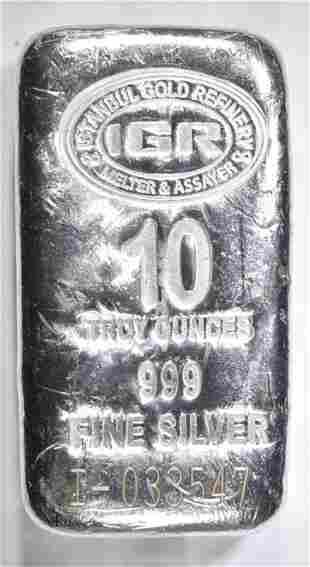 TEN OUNCE .999 SILVER BAR ISTANBUL REFINING