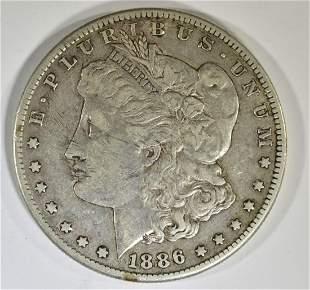 1886-S MORGAN DOLLAR XF MARKS OBV.