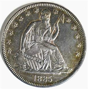 1885 SEATED LIBERTY HALF DOLLAR BU SCARCE DATE